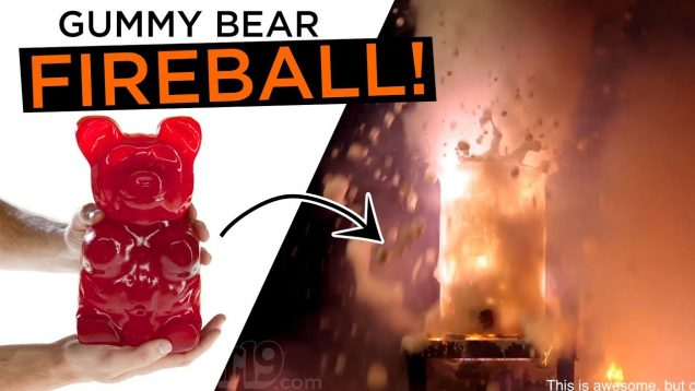 This is awesome! But don't try this at home. Giant Gummy Bear Fireball!