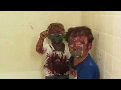 Dad can't stop laughing while trying to punish sons covered in paint (UNEDITED)